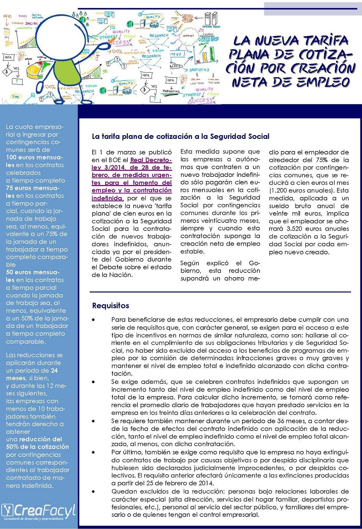 La nueva tarifa plana de cotización por creación neta de empleo