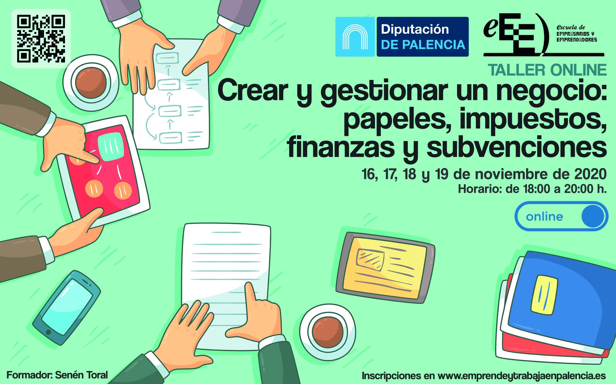 Taller online 'Crear y gestionar un negocio: papeles, impuestos, finanzas y subvenciones'